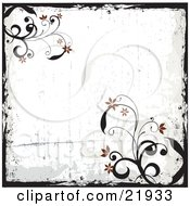 Clipart Picture Illustration Of A Grunge Black Border With Vines And Red Flowers On A White Background