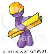 Purple Man Construction Worker Wearing A Hardhat And Carrying A Beam At A Work Site by Leo Blanchette