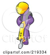 Purple Construction Worker Man Wearing A Hardhat And Operating A Yellow Jackhammer While Doing Road Work