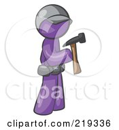 Poster, Art Print Of Purple Man Contractor Hammering