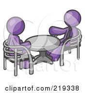 Royalty Free RF Clipart Illustration Of Two Purple Business Men Sitting Across From Eachother At A Table During A Meeting