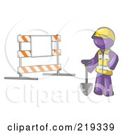 Clipart Illustration Of A Purple Man Construction Worker In A Yellow Vest And Hardhat Holding A Shovel And Standing By A Road Block Sign