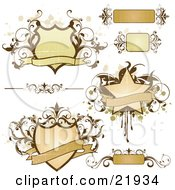 Clipart Picture Illustration Of A Collection Of Flourishes Text Boxes And Shields With Banners And Text Space