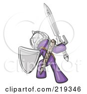 Royalty Free RF Clipart Illustration Of A Purple Design Mascot Man Ultimate Warrior With A Sword And Shield