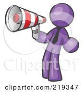 Royalty Free RF Clipart Illustration Of A Purple Design Mascot Man Announcing With A Megaphone