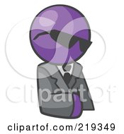 Royalty Free RF Clipart Illustration Of A Purple Man Businessman Avatar Wearing Shades by Leo Blanchette