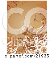 Clipart Picture Illustration Of A White Curly Vines Circles And Brown Flowers Over A Grunge Orange Background
