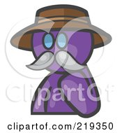 Royalty Free RF Clipart Illustration Of A Purple Man Avatar Professor With A Mustache by Leo Blanchette
