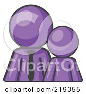 Clipart Illustration Of A Purple Child Or Employee Standing Beside A Bigger Blue Businessman Symbolizing Management Parenting Or Mentorship