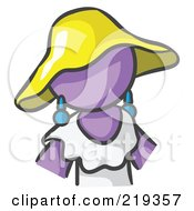 Purple Woman Avatar In A White Dress And Yellow Hat
