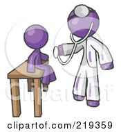 Purple Man Doctor Examining A Child