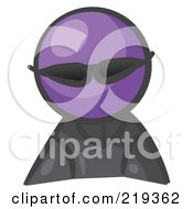 Royalty Free RF Clipart Illustration Of A Purple Man Avatar Spy Wearing Shades by Leo Blanchette