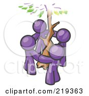 Group Of 4 Purple Men Standing In A Circle Around A Tree