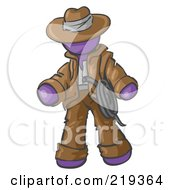 Royalty Free RF Clipart Illustration Of A Purple Design Mascot Man Cowboy Adventurer
