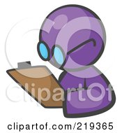 Purple Man Avatar Writing Notes On A Clipboard