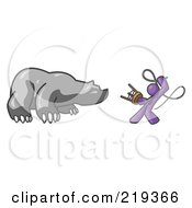 Purple Man Holding A Stool And Whip While Taming A Bear Bear Market by Leo Blanchette