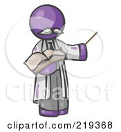 Purple Man Professor Holding A Pointer Stick And An Open Book by Leo Blanchette