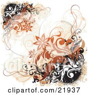 Clipart Picture Illustration Of Orange Flowers And Black White And Orange Vines Over A White Grunge Background