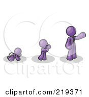 Purple Man In His Growth Stages Of Life As A Baby Child And Adult by Leo Blanchette