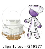 Royalty Free RF Clipart Illustration Of A Purple Woman Wedding Cake Maker