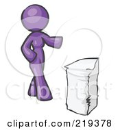 Purple Design Mascot Woman With A Stack Of Paperwork