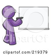 Purple Design Mascot Man Writing On A White Board by Leo Blanchette