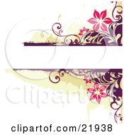 Blank White Text Space With Pink Flowers And Purple Vines Over Green And White