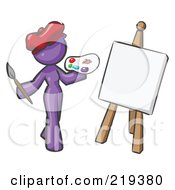 Royalty Free RF Clipart Illustration Of A Purple Design Mascot Woman Artist Painting A Portrait