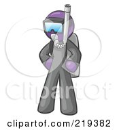Royalty Free RF Clipart Illustration Of A Purple Design Mascot Man In Scuba Gear