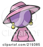 Purple Woman Avatar In A Dress And Hat