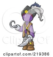 Royalty Free RF Clipart Illustration Of A Purple Man Pirate With A Hook Hand And A Sword by Leo Blanchette