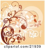 Clipart Picture Illustration Of White Orange And Brown Curly Plants With Flowers Over An Orange Background