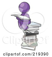 Purple Design Mascot Man Reading On A Stack Of Books