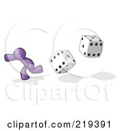 Purple Design Mascot Man Running From Dice