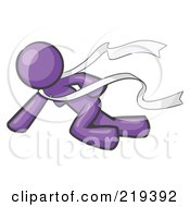 Purple Design Mascot Woman Finishing First In A Race