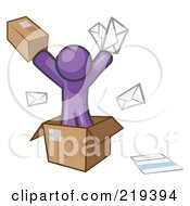 Purple Design Mascot Man Going Postal With Parcels And Mail
