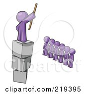 Royalty Free RF Clipart Illustration Of A Purple Design Mascot Man Ruling And Punishing Others