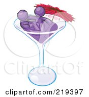 Purple Design Mascot Couple Soaking In A Cocktail Glass With An Umbrella