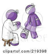Royalty Free RF Clipart Illustration Of A Purple Male Doctor In A Lab Coat Sitting On A Stool And Bandaging A Patient That Has Been Hurt On The Head Arm And Ankle