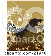 Clipart Picture Illustration Of White And Tan Vines With Flowers Over A Brown And Black Background With Bubbles