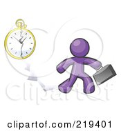 Purple Design Mascot Man Running Late For Work Over A Crack With A Clock