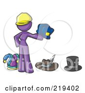 Royalty Free RF Clipart Illustration Of A Purple Design Mascot Woman With Many Hats