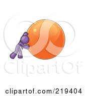Clipart Illustration Of A Strong Purple Business Man Pushing An Orange Sphere