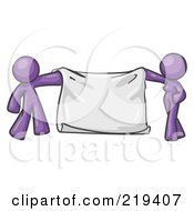 Purple Design Mascot Man And Woman Holding A Blank Banner