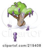 Royalty Free RF Clipart Illustration Of A Purple Design Mascot Man Watching Others Fall From The Family Tree by Leo Blanchette