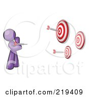 Royalty Free RF Clipart Illustration Of A Purple Design Mascot Man Throwing Darts At Targets by Leo Blanchette