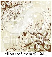 Clipart Picture Illustration Of A Beige Background With Flowering Brown And White Vines