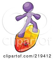Royalty-Free (RF) Clipart Illustration of a Purple Design Mascot Surfer Chick by Leo Blanchette