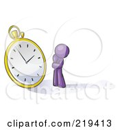 Royalty Free RF Clipart Illustration Of A Purple Design Mascot Man Worried And Watching A Clock