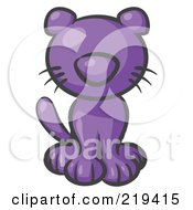 Cute Purple Kitty Cat Looking Curiously At The Viewer by Leo Blanchette